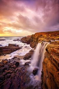 Mega Falls and Sunset Clouds, Sonoma Coast, Northern California Waterfall by Vincent James