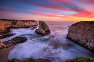 Milky Water Sunset at Shark Fin Cove, California Coast, Santa Cruz, Davenport by Vincent James