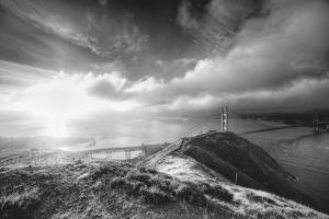 Mist and Sun at Golden Gate Bridge, Black and White, San Francisco by Vincent James