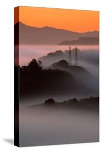 Mist Sunrise & East Bay Hills Towers Moraga Oakland California by Vincent James