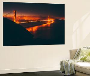 Misty Red Scene at Golden Gate, San Francisco by Vincent James