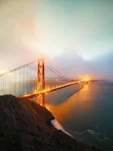 Misty Stormy Morning Golden Gate Bridge, Night Lights, San Francisco by Vincent James