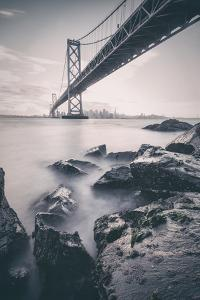 Moody Black and White Cityscape at San Francisco Bay by Vincent James