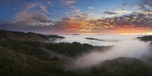 Moody Fog and Clouds Mount Diablo Bay Area Clouds Sunrise Fire by Vincent James