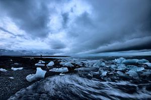 Moody Ice Beach, Glacier Lagoon at Midnight, Iceland by Vincent James