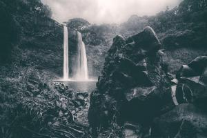 Moody Wailua Falls in Black and White, Kauai Hawaii by Vincent James