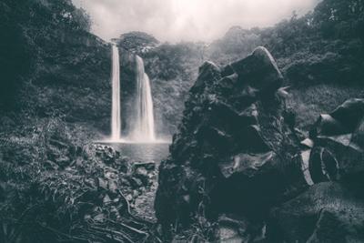 Moody Wailua Falls in Black and White, Kauai Hawaii by Vincent James