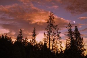 Moon and Cloudscape at Sunset, Yellowstone Wyoming by Vincent James