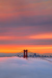 Morning Fog & Fire Over San Francisco Bay by Vincent James