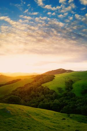 Morning Light Breaks, Spring Sun and Petaluma Marin Sonoma Hills by Vincent James