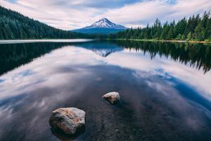 Mount Hood and Clouds in Reflection, Trillium Lake Wilderness Oregon by Vincent James