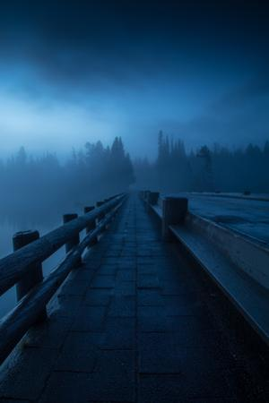 Mystical Fishing Bridge  Path Fog Mist Works Yellowstone National Park Wyoming by Vincent James