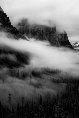 Mystical Fog Yosemite Valley El Capitan Tunnel View Black & White Mist by Vincent James