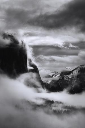 Mystical Magical Surreal Yosemite Valley in Winter Clouds Black White by Vincent James