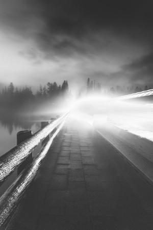 Night Moves Fishing Bridge Yellowstone Black White River Wyoming by Vincent James