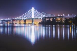 Oakland Bay Bridge, Night Reflection by Vincent James