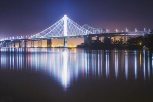 Oakland Bay Bridge, Night Reflection by Vincent James