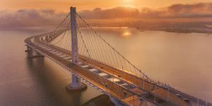 Oakland Glow - Oakland East Bay Bridge, San Francisco Bay by Vincent James