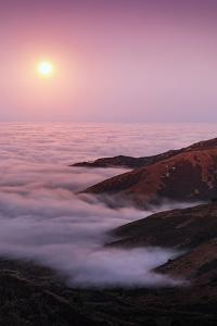 Out There Harvest Moon Light Glow & Pacfic Ocean Fog Marin Headlands by Vincent James