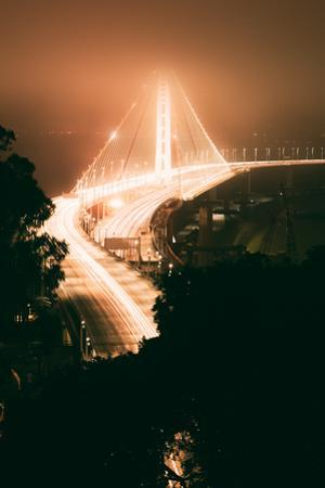 Peach Night Glow and Fog at Oakland Bay Bridge, Northern California by Vincent James