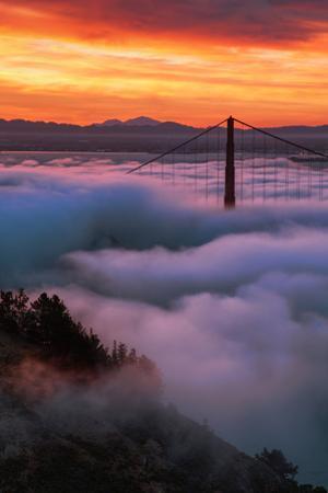 Prime Mood Dark Morning Fog & Sunrise Burn San Francisco Golden Gate by Vincent James
