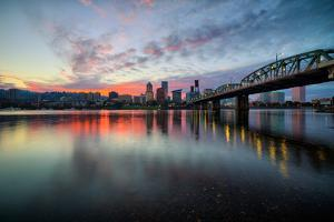 Riverside Sunset, Hawthorne Bridge, Eastbank Esplande, Portland Oregon by Vincent James