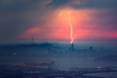 Sales Force of Nature Lightning Strikes Bay Area Storm San Francisco by Vincent James