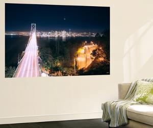 San Francisco Bay Bridge Night Cityscape by Vincent James