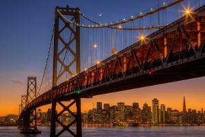 San Francisco Cityscape, Bay Bridge and Crescent Moon by Vincent James