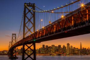 San Francisco Cityscape, Bay Bridge and Crescent Moon by Vincent James