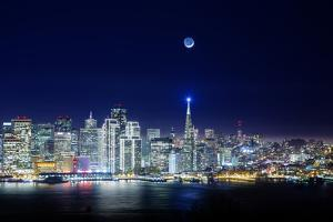 San Francisco Holiday Cityscape and Crescent Moon by Vincent James