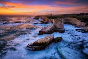Sky Fire at Shark Fin Cove, California Coast, Santa Cruz, Davenport by Vincent James