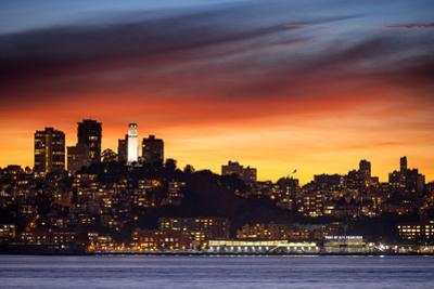 Sky Fire Over San Francisco Coit Tower Cityscape Bay Area by Vincent James
