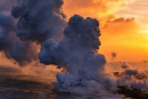 Smoke on the Water, Big Island, Hawaii Volcano by Vincent James