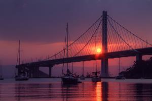 Smoky Sunrise at East Span Bay Bridge Boats Harbor Oakland Treasure Island by Vincent James