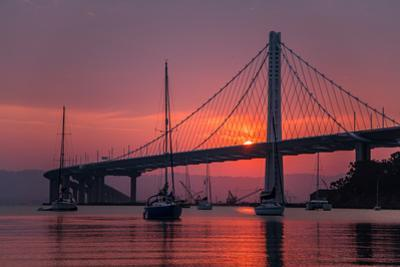 Smoky Sunrise Glow at East Span Bay Bridge Boats Harbor Oakland Treasure Island by Vincent James