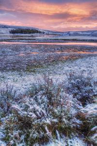 Snow Dusted Sunset and Sagebrush at Hayden Valley by Vincent James