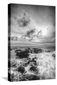 Storm Passing at Thor's Well Oregon Coast Black White by Vincent James