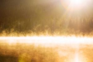 Sun Mist & Fog Abstract Sparks Lake Bend Oregon Wilderness by Vincent James