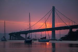 Sunrise Glow Behind East Span Bay Bridge Boat Harbor Oakland Treasure Island by Vincent James