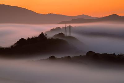 Sunrise Mist & East Bay Hills Towers Moraga Oakland California by Vincent James