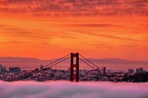 Sunrise Sky Over San Francisco and Golden Gate Bridge by Vincent James