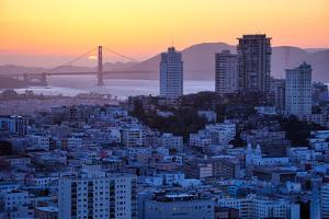 Sunset Behind Golden Gate Bridge, Downtown San Francisco by Vincent James