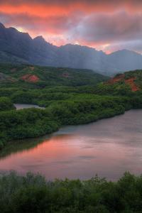 Sunset Color at Menehune Fishpond, Kauai Hawaii by Vincent James