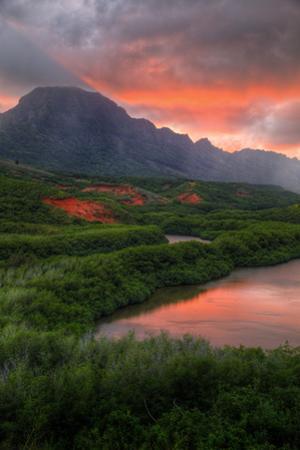 Sunset Landscape at Menehune Fishpond, Kauai Hawaii by Vincent James