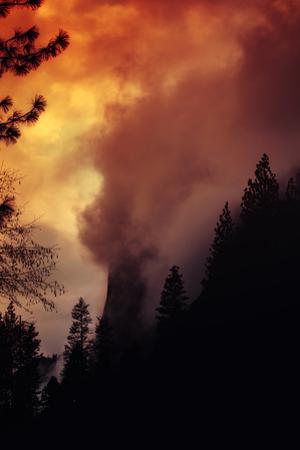 Sunset Light Fire Magic El Capitan Bathed in Fog Yosemite National Park by Vincent James