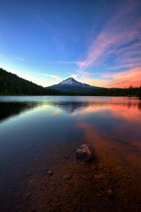 Sunset Reflection and Clouds at Trillium Lake, Mount Hood, Oregon by Vincent James