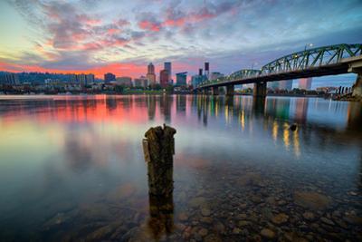 Sunset River Scene, Hawthorne Bridge, Eastbank Esplande, Portland Oregon by Vincent James