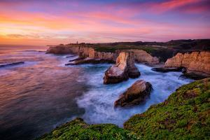 Sunset Seascape at Shark Fin Cove, California Coast, Santa Cruz, Davenport by Vincent James