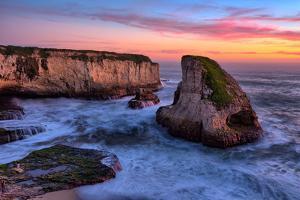 Sunset Seascape, Shark Fin Cove, Davenport, Santa Cruz, Pacific Ocean by Vincent James